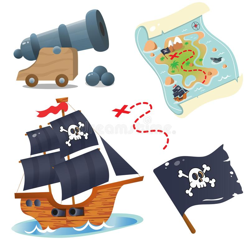 Set for pirate party for kids. Pirate ship. Sailboat with black sails. Pirate cannon. Treasure map stock illustration