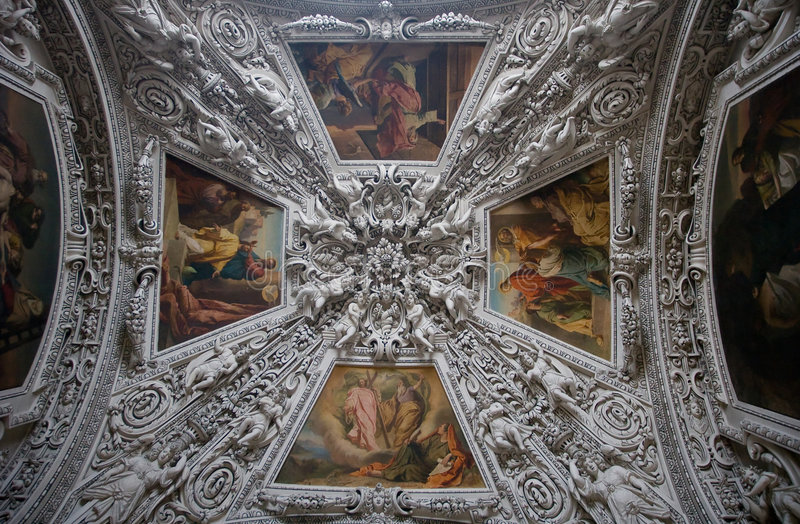 The decorative ceiling stock image