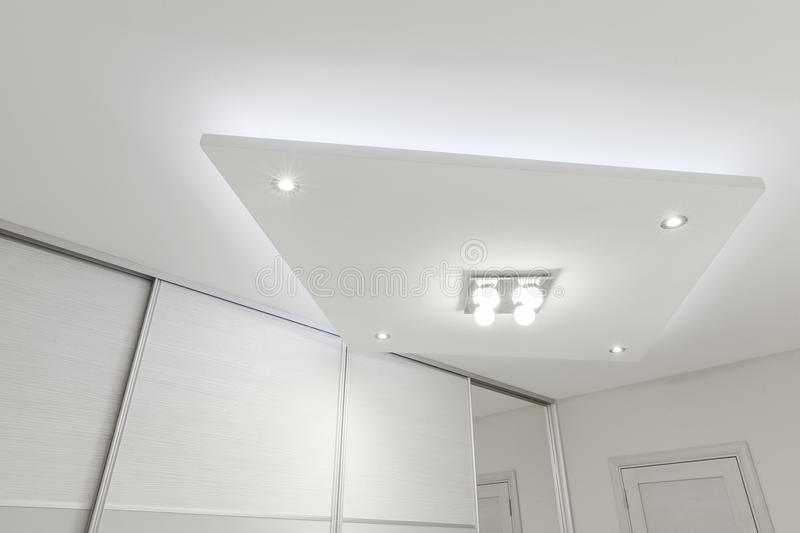 Decorative ceiling with lighting stock photos