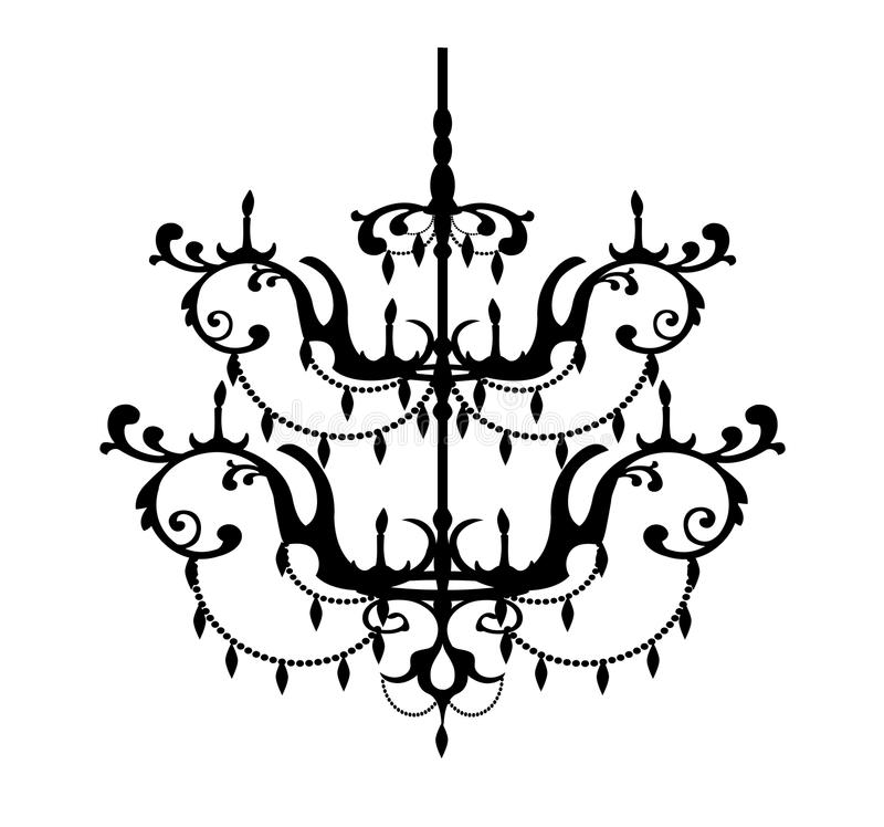 Decorative chandelier. Decorative silhouette of a chandelier - vector illustration stock illustration