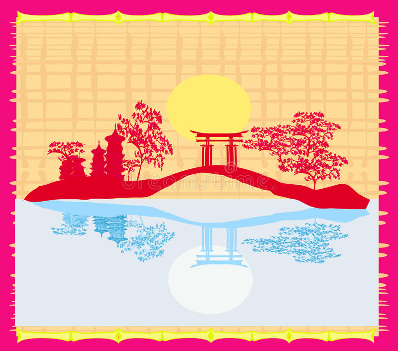 Decorative Chinese landscape card vector illustration