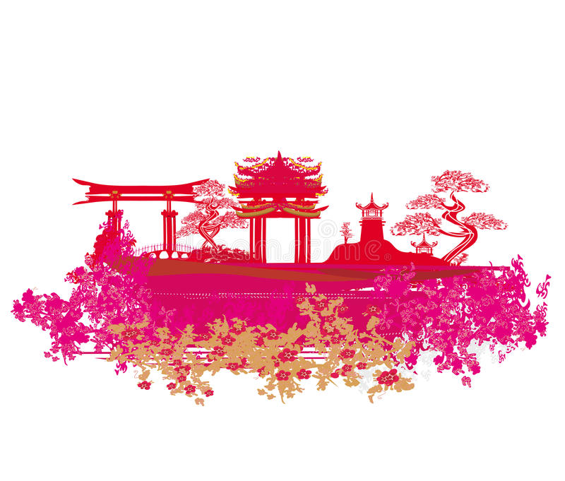 Download Decorative Chinese Landscape Card Stock Vector - Illustration of buddhism, roof: 34580024