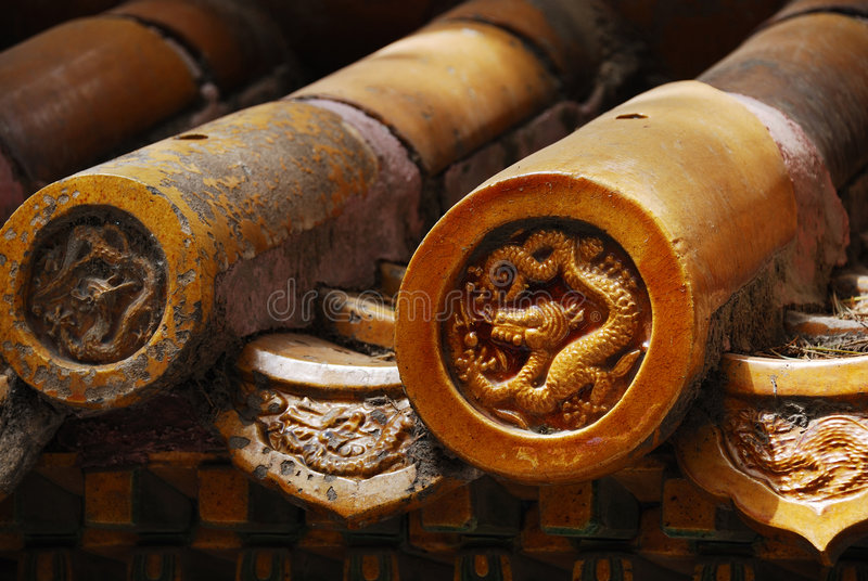 Decorative Chinese Roof Tiles royalty free stock image