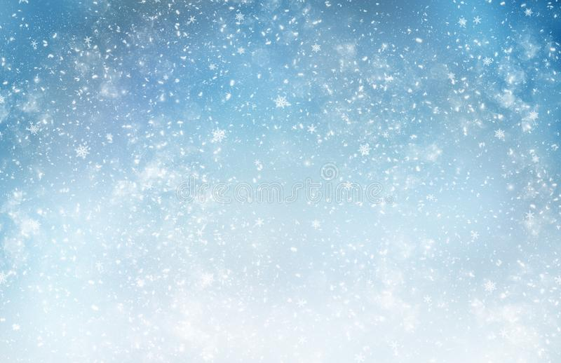 Decorative Christmas background with bokeh lights and snowflakes stock image