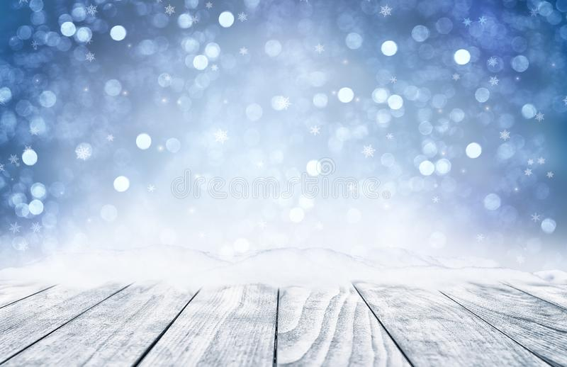 Decorative Christmas background with bokeh lights and snowflakes royalty free stock image