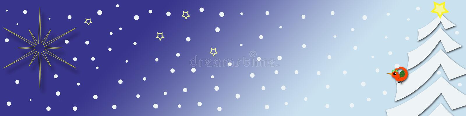 Decorative christmas banner. Decorative christmas / seasonal banner with a bright shining star, a stylish christmas tree and a cute little bird royalty free illustration