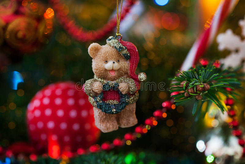 Decorative Christmas bear stock images