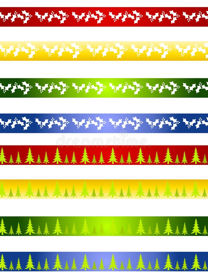 Download Decorative Christmas Borders Or Dividers Stock Illustration - Illustration of green, holly: 3728096
