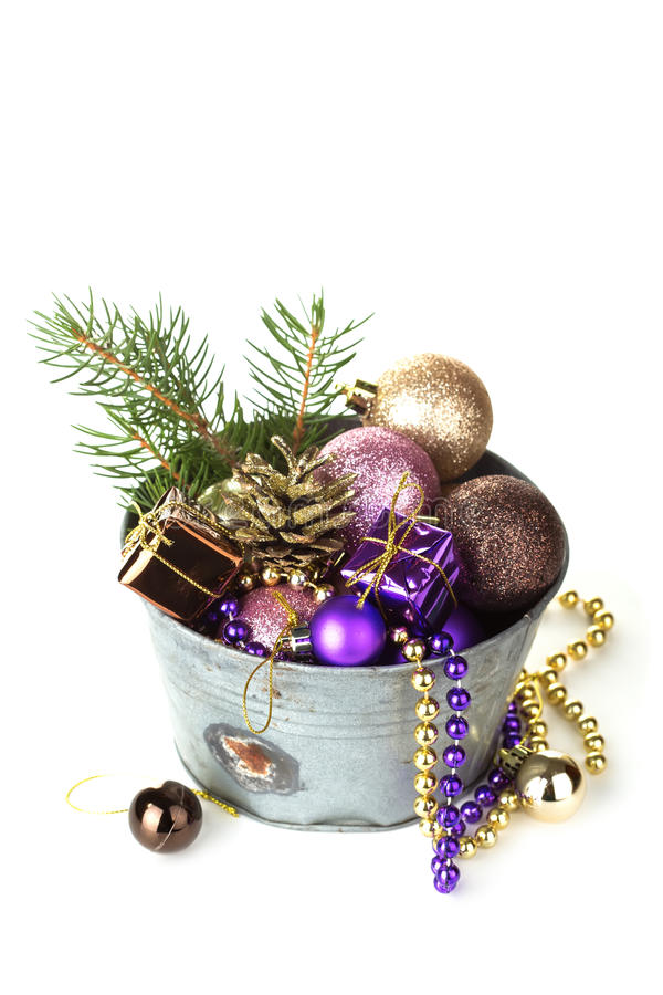 Decorative Christmas Composition On White Stock Photo