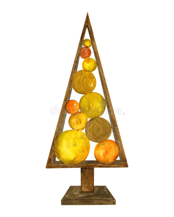 Decorative christmas decoration wooden figure of christmas tree with balls. Golden watercolor illustration on a white background. For printing cards royalty free illustration