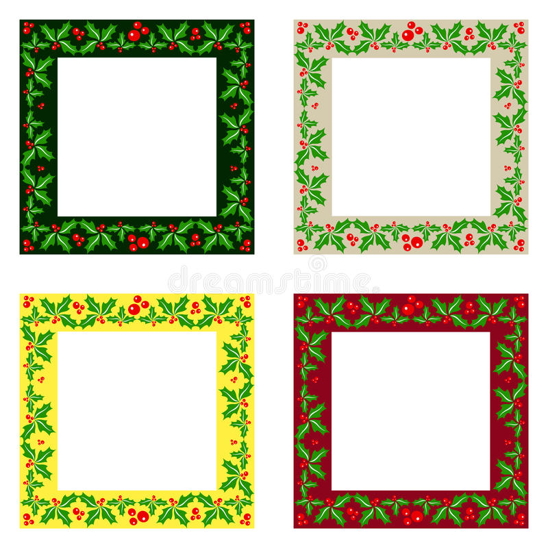 Decorative Christmas frames pack. With flowers vector illustration