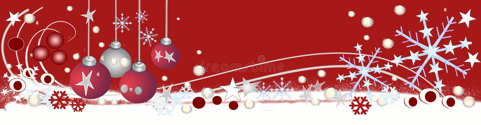 Decorative christmas header. A decorative red christmas header / banner with snowflakes, stars and baubles stock illustration
