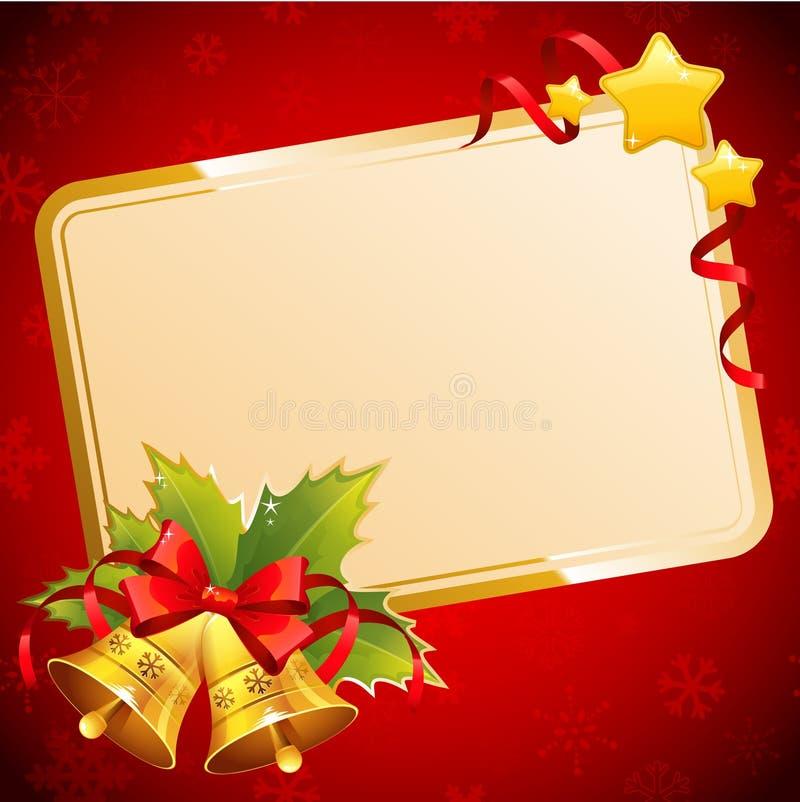 Decorative Christmas invitation postcard with traditional winter stock photo