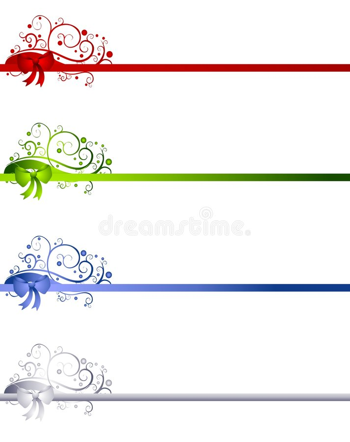 decorative christmas ribbon borders stock illustration