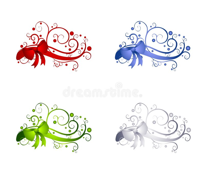 Decorative Christmas Ribbon Decorations vector illustration