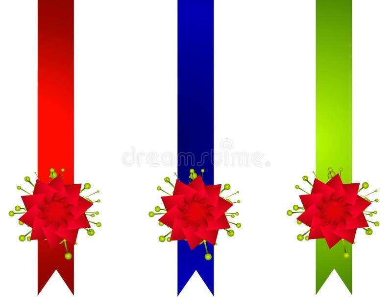 Decorative Christmas Ribbons And Bows Borders royalty free stock photography