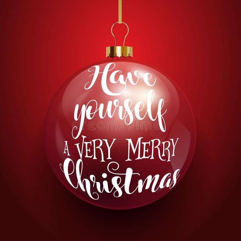 Decorative Christmas text on hanging bauble royalty free illustration
