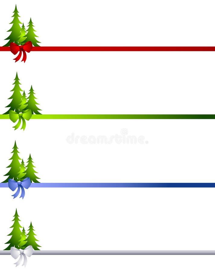 Decorative christmas tree bow borders stock illustration
