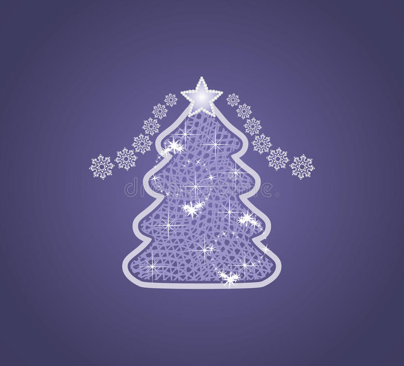 Decorative Christmas tree on the dark blue background royalty free stock image