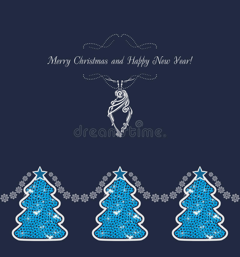 Decorative Christmas trees on the dark blue background. Vintage postcard stock images