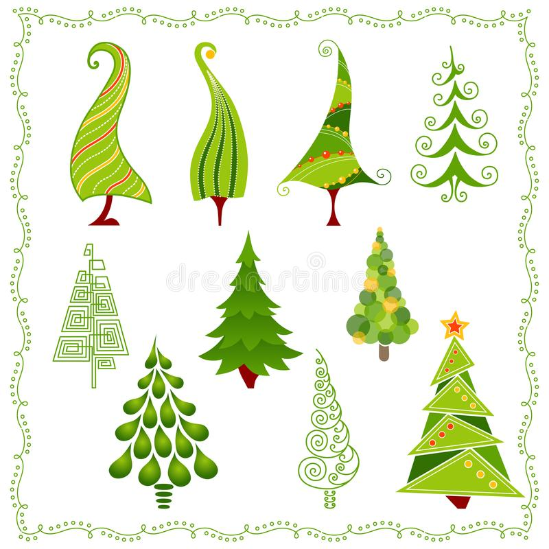 Decorative Christmas trees in different styles. Christmas trees in different styles. Vector set of stylized illustration. Christmas tree collection for holiday stock illustration