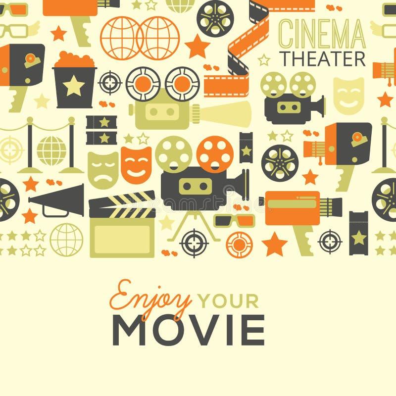 Decorative cinema template. Horizontal seamless background with cinema decorative design elements. Cinema theatre illustration for web, flyers, print design stock illustration