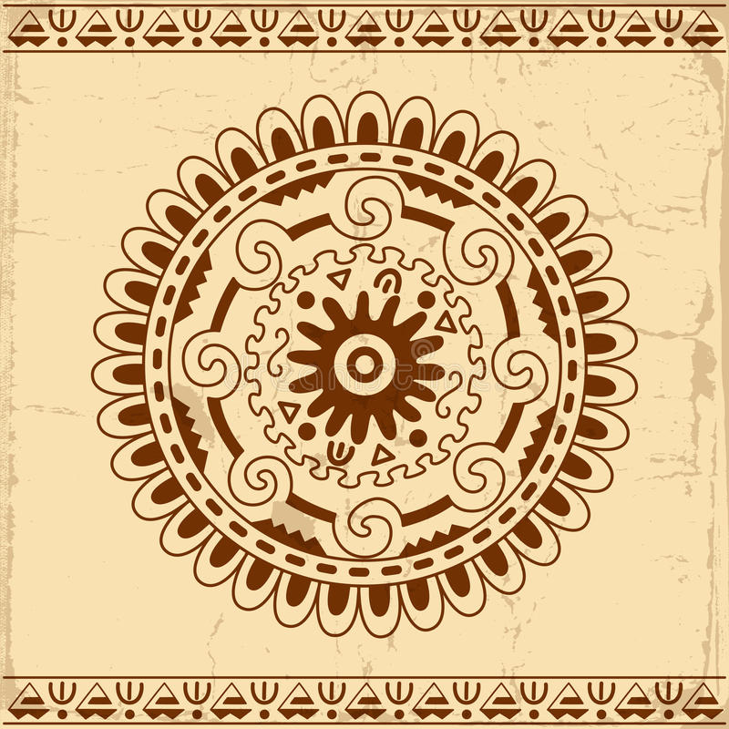 Beautiful Mexican ethnic ornament. Decorative circle on grunge background stock illustration