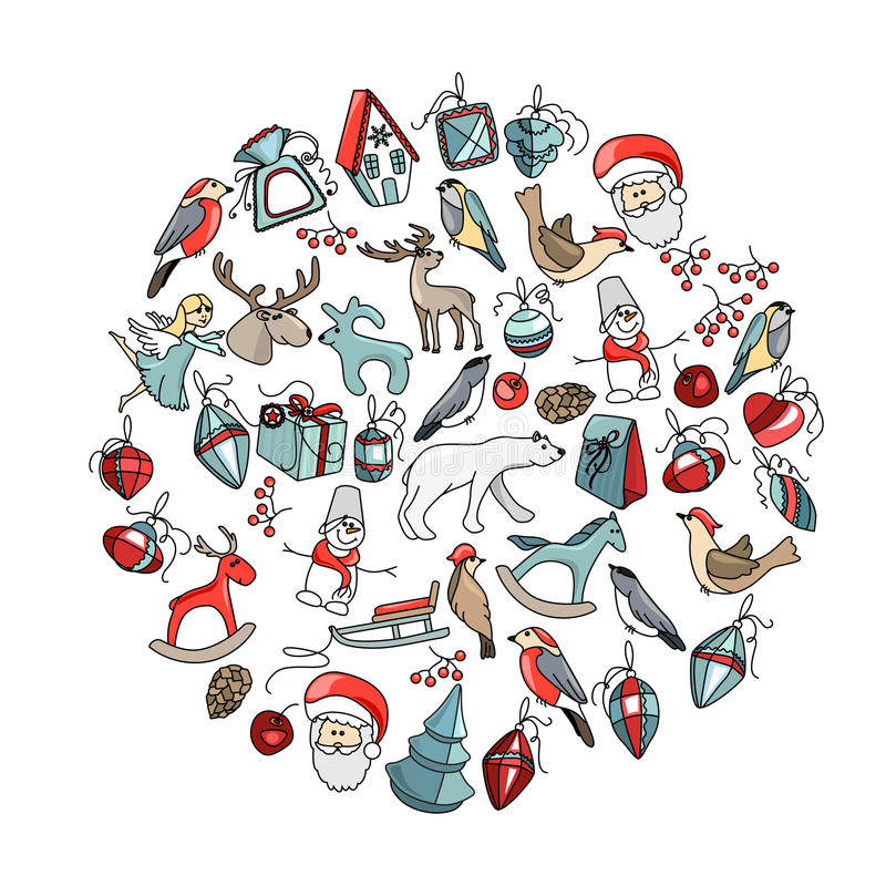 Decorative circle with Christmas decoration. Decorative circle with different Christmas decoration. For your design, Christmas announcements, greeting cards stock illustration