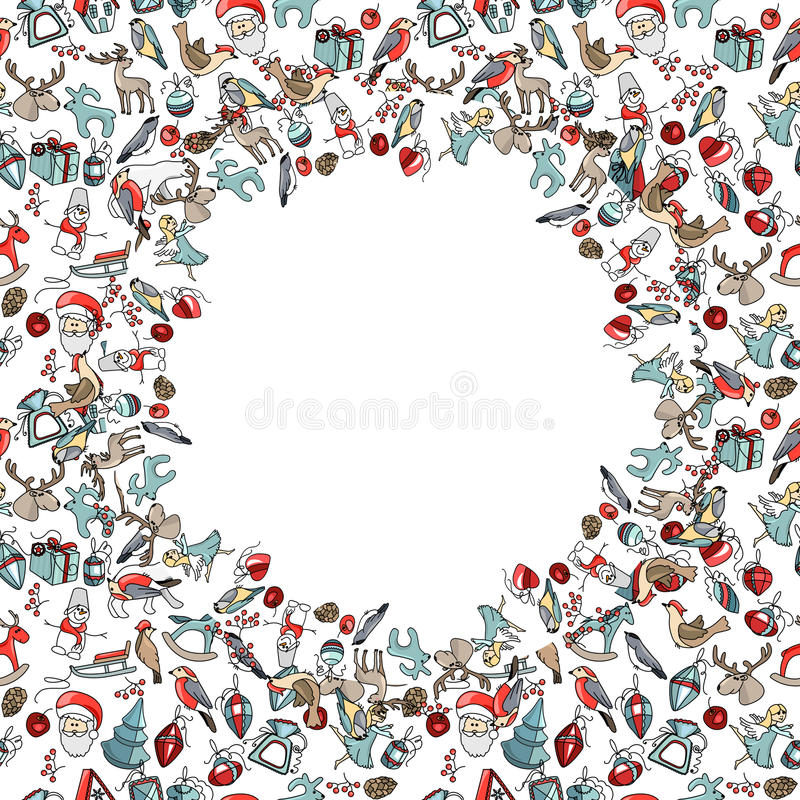 Decorative circle with Christmas decoration. Decorative circle with different Christmas decoration. For your design, Christmas announcements, greeting cards vector illustration