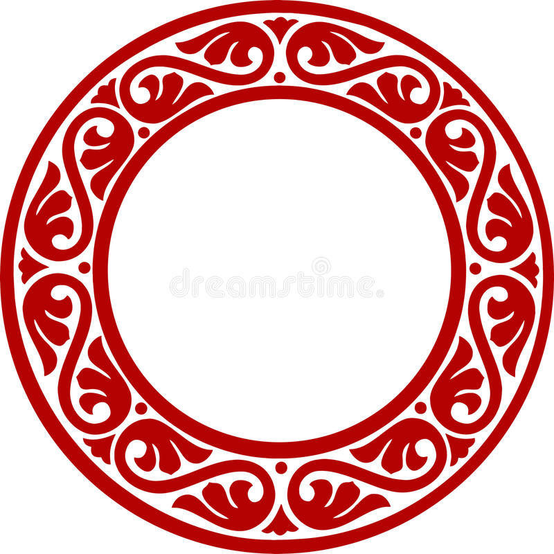 Decorative circle framework with abstract flowers vector illustration