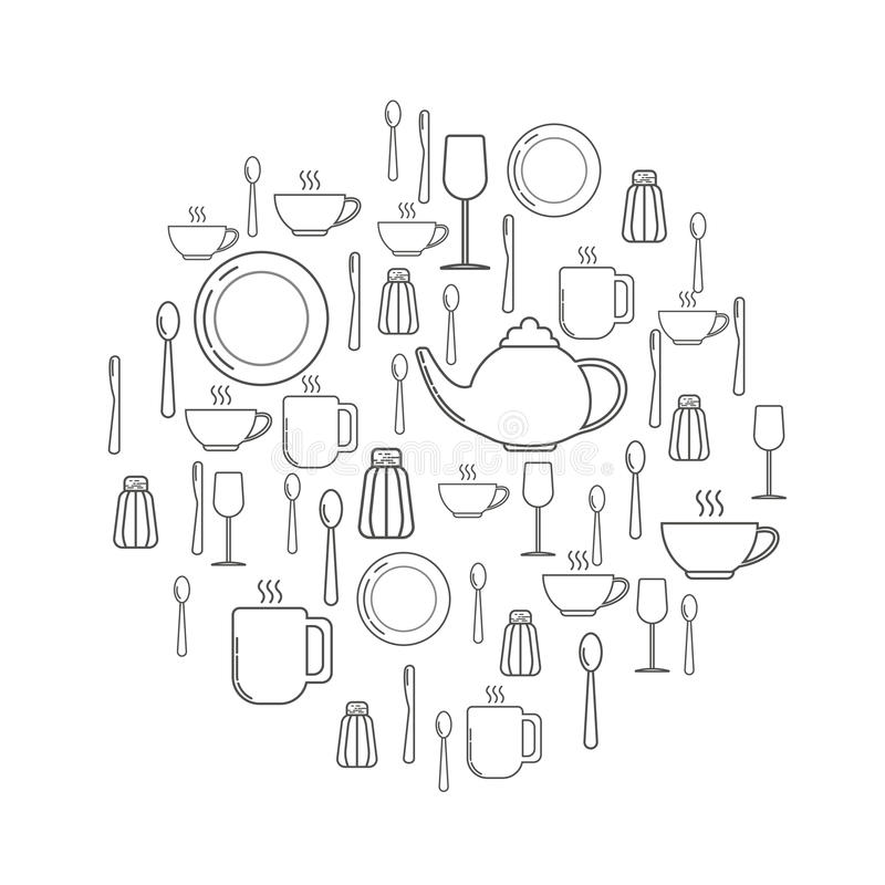 Free Decorative Circle From Different Kitchen Equipment Such As Plates, Knives, Forks. Line Art Work. Royalty Free Stock Photo - 85072655