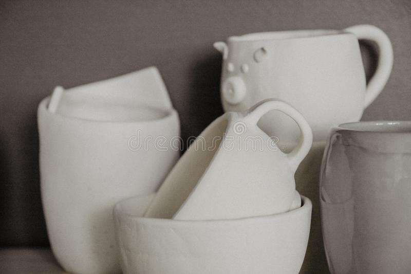 Decorative clay cups closeup with shallow DOF. royalty free stock photo