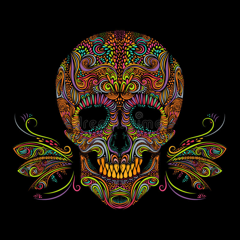 Decorative color skull stock illustration