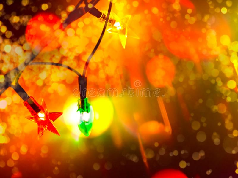 Decorative Colorful Blurred Lights. Colorful Bright Circles of a Sparkling Garland. Christmas Abstract Soft Lights royalty free stock photos