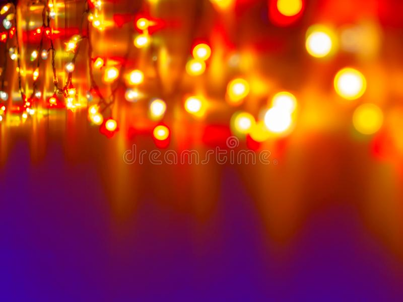 Decorative Colorful Blurred Lights On Violet Background. Christmas Abstract Soft Lights. Colorful Bright Circles Of A Sparkling royalty free stock photo