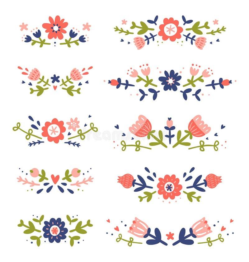 Decorative colorful floral compositions set 2. Decorative colorful floral compositions collection stock illustration