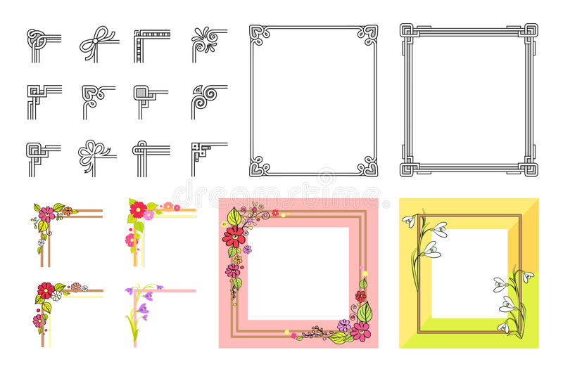 Decorative Colorful Frame Collection on White. Vector poster of square adorned with flowers and other festive attributes borders and their parts. Frames vector illustration