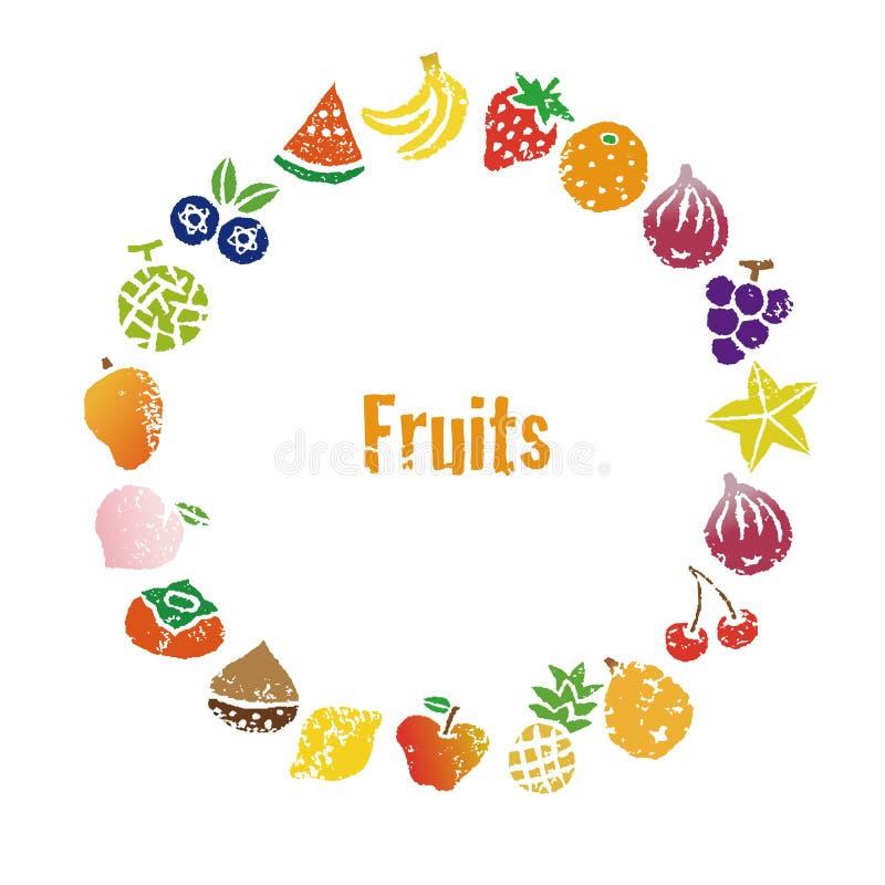 Decorative colorful fruits wreath. Frame design royalty free illustration