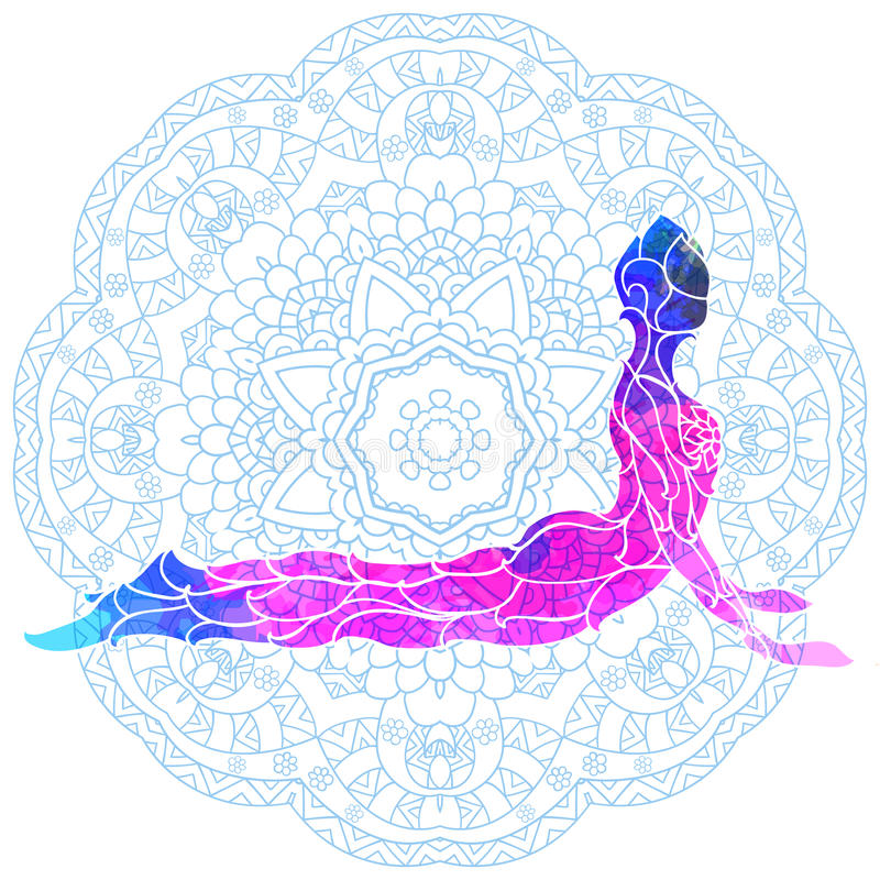 Decorative colorful yoga pose over ornate round mandala pattern. Yoga concept. Decorative design for cover, t-shirt, hippie poster, flyer royalty free illustration