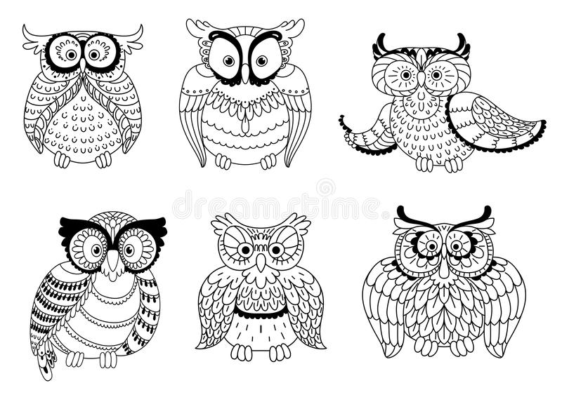 Decorative colorless owls and cute owlets. Colorless decorative owls, cute little owlets and old wise eagle owls with ornamental wings and big eyes. Childish stock illustration