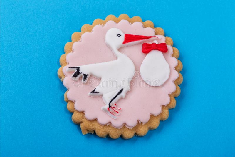 Decorative cookies for a newborn baby at baptism. stock photos