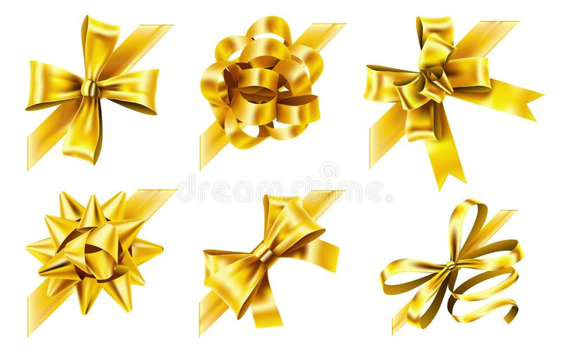 Decorative corner bow. Golden favor ribbon, yellow angle bows and luxury gold ribbons realistic 3D vector illustration vector illustration