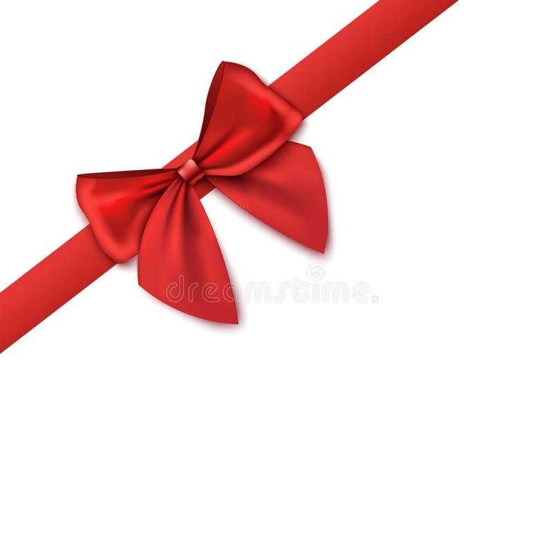 Decorative corner - red satin ribbon with bow 3d vector illustration isolated. stock illustration