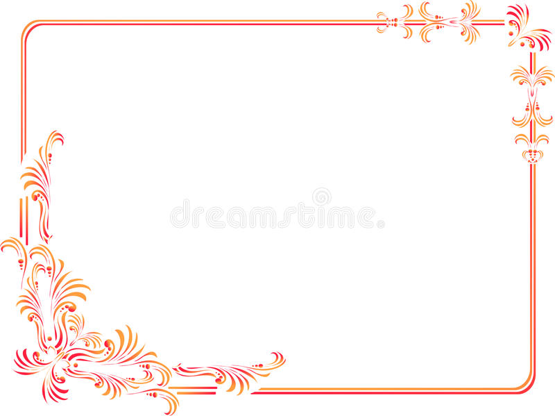 decorative corners & border isolated stock illustration