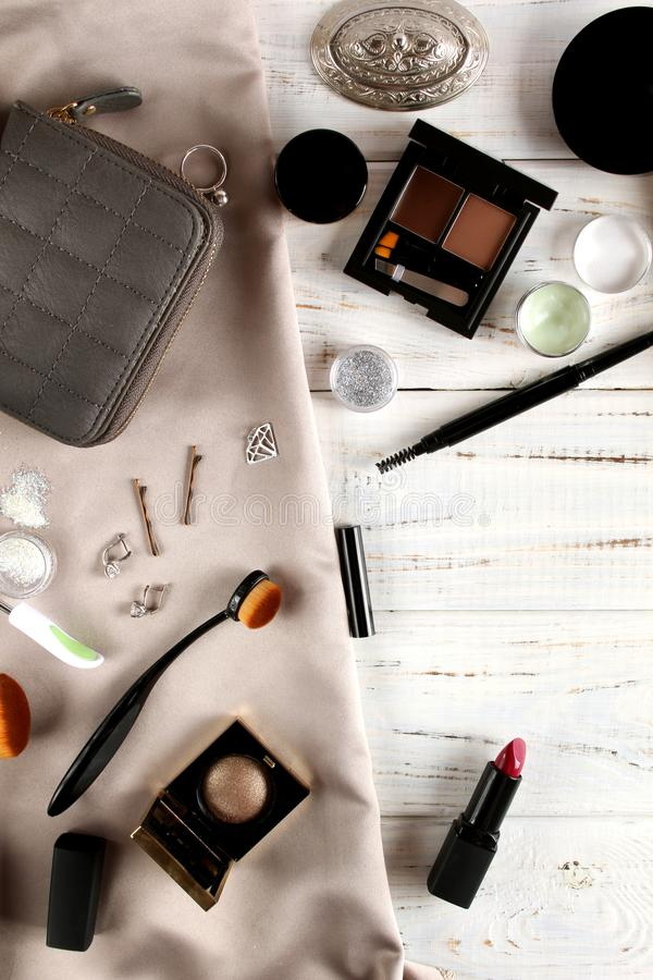 Background with decorative cosmetics royalty free stock photos