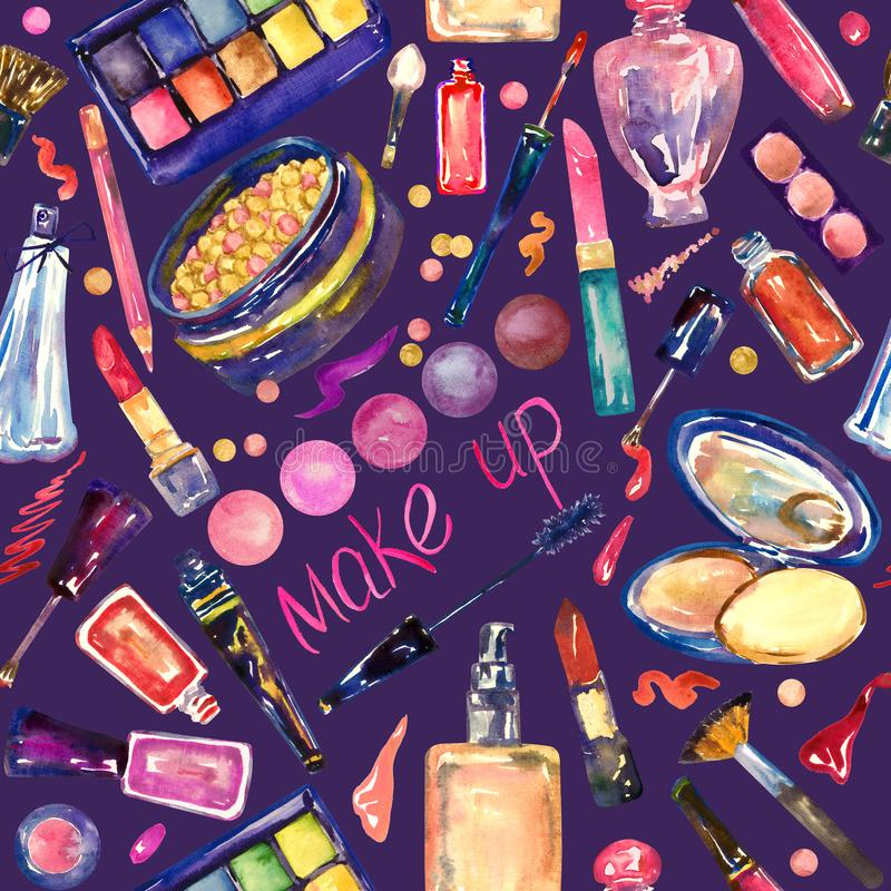 Decorative cosmetics, make up stuff collection in bright colors, hand painted watercolor illustration, seamless pattern royalty free illustration