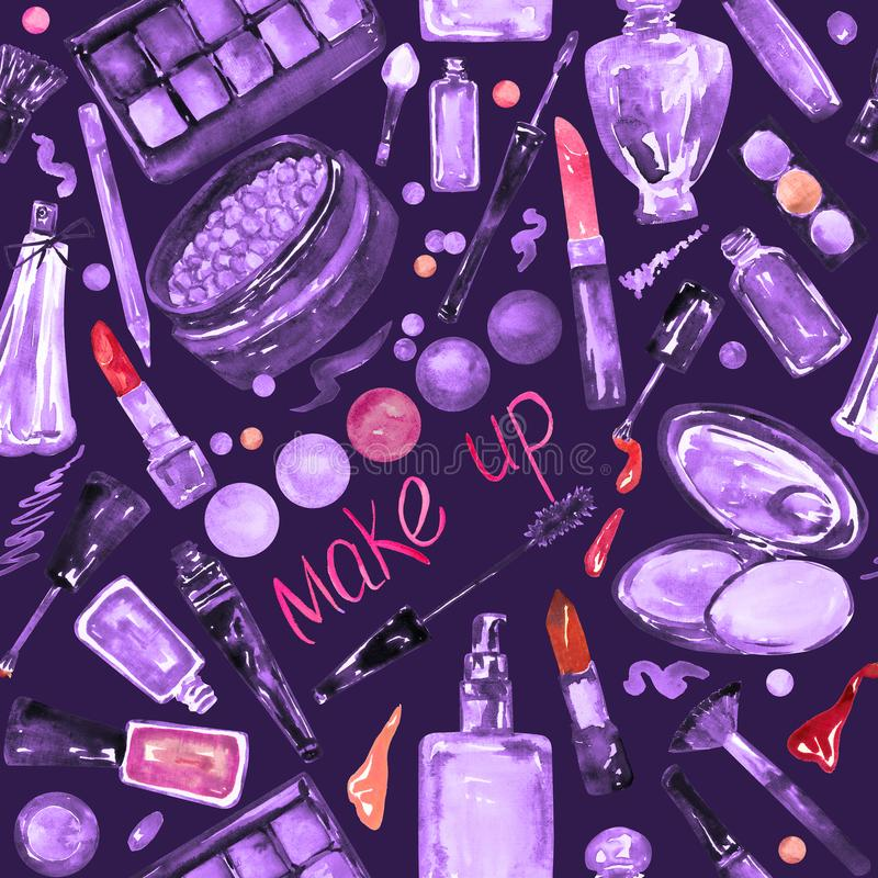 Decorative cosmetics, make up stuff collection, hand painted watercolor illustration in purple, violet color palette with red. Accents, seamless pattern on dark stock illustration