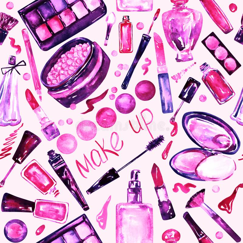 Decorative cosmetics, make up stuff collection, hand painted watercolor, pink, purple color palette. Seamless pattern on white background royalty free illustration