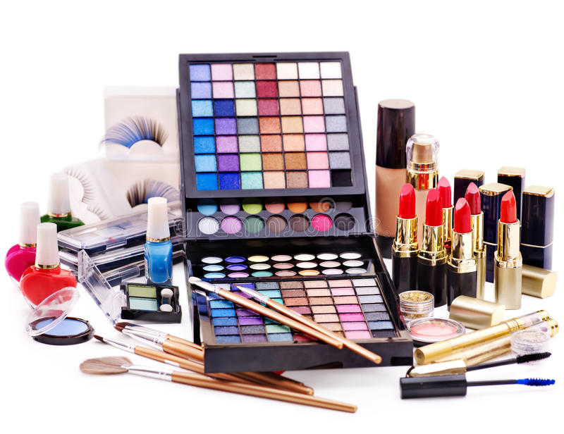 Decorative cosmetics for makeup. Close up royalty free stock image