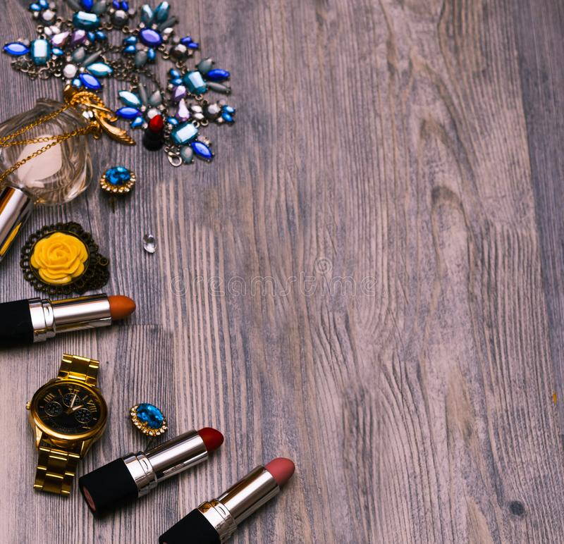 Set of professional decorative cosmetics, makeup tools and accessory on background. beauty, fashion, party and shopping concept. Decorative cosmetics, makeup royalty free stock photography